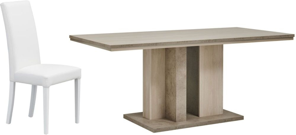 Gami Colima Dining Set - Rectangular Extending with Ava White Chairs