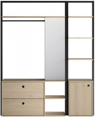 Gami Duplex 1 Door Open Wardrobe Set - Natural Chestnut and Black Foil