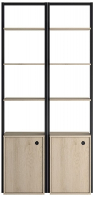 Gami Duplex 2 Door Open Wardrobe - Natural Chestnut and Black Foil