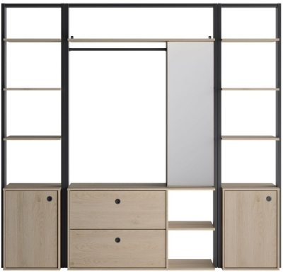 Gami Duplex 2 Door Open Wardrobe Set - Natural Chestnut and Black Foil