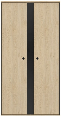 Gami Duplex 2 Door Wardrobe - Natural Chestnut and Black Foil
