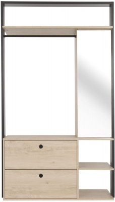 Gami Duplex Large Open Wardrobe - Natural Chestnut and Black Foil