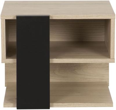 Gami Duplex Reversible Bedside Cabinet - Natural Chestnut and Black Foil