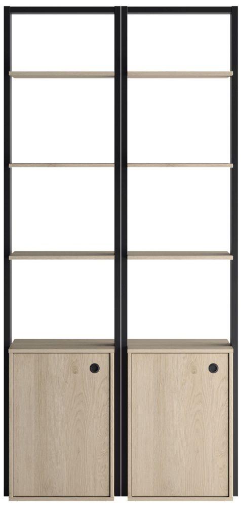 Gami Duplex 2 Door Open Wardrobe - Natural Chestnut and Black Foil