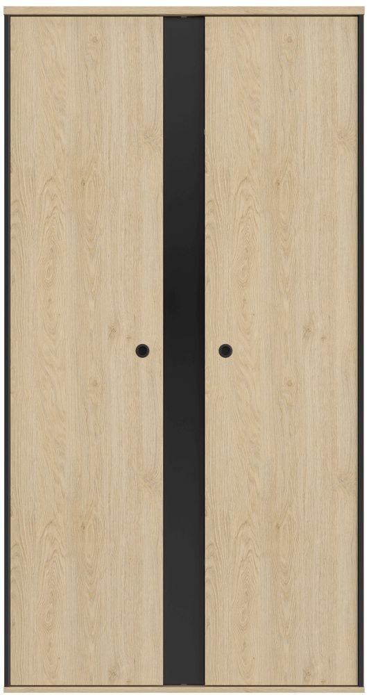 Gami Duplex 2 Door Wardrobe - Natural Chestnut and Black Foil