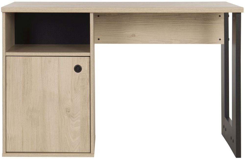 Gami Duplex Desk - Natural Chestnut and Black Foil
