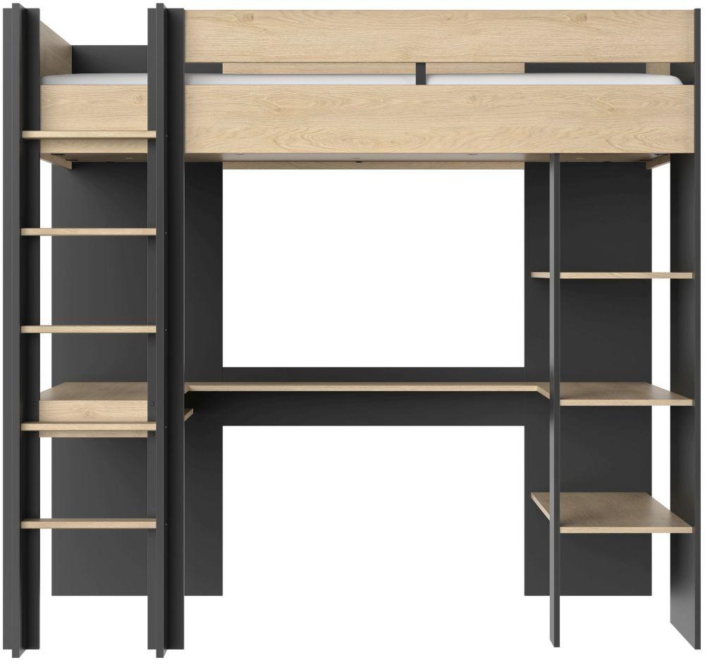 Gami Duplex Mezzanine High Bed - Natural Chestnut and Black Foil