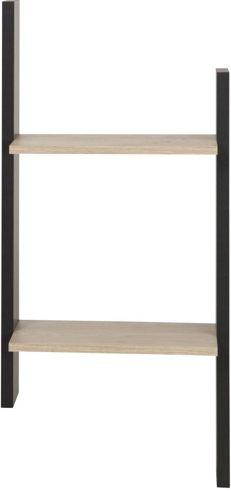 Gami Duplex Wall Shelf - Natural Chestnut and Black Foil
