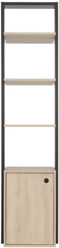 Gami Duplex Open Wardrobe - Natural Chestnut and Black Foil