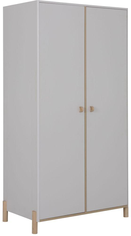 Gami Eliott Sanded Light Grey 2 Door Wardrobe