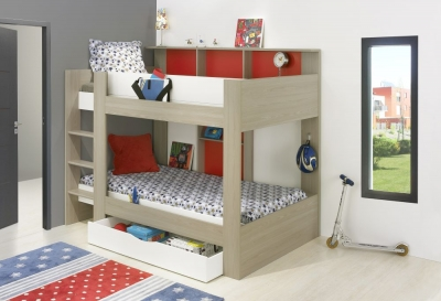 Gami Elliot Grey or White Oak Red Bunk Bed with Drawer