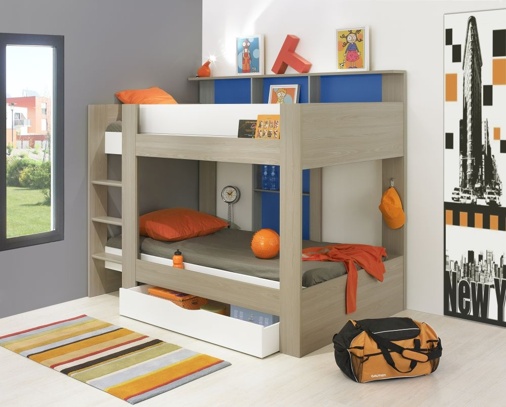 Gami Elliot Grey Or White Oak Blue Bunk Bed With Drawer