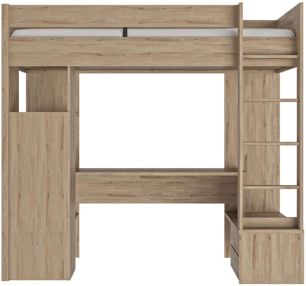 Gami Ethan Light Oak Mezzanine High Bed
