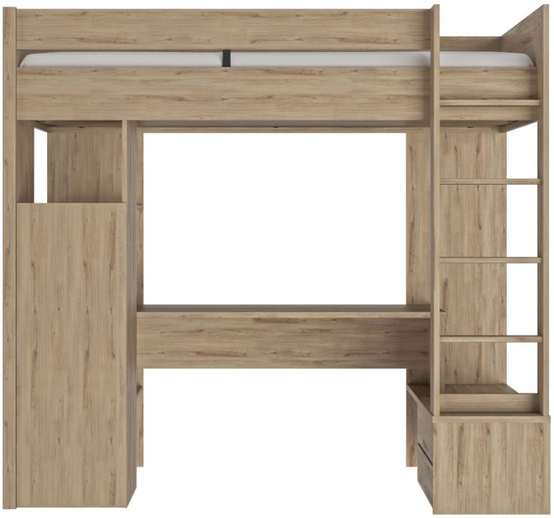Gami Ethan Light Oak Mezzanine High Bed