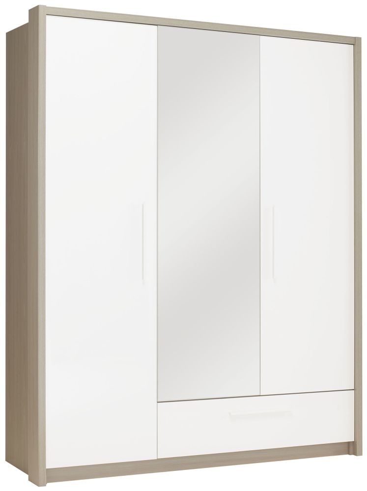 Gami Faro Grey Ash Wardrobe - 3 Door 1 Drawer