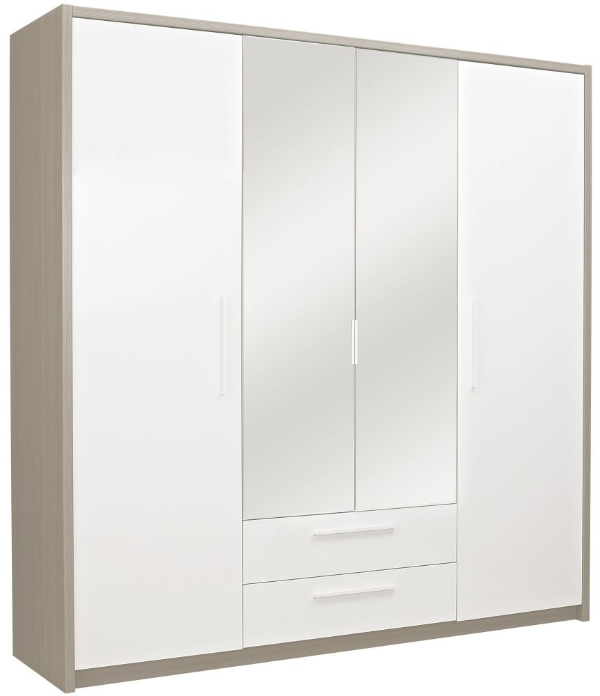 Gami Faro Grey Ash Wardrobe - 4 Door 2 Drawer