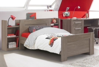 Gami Hangun Charcoal Oak Bed with Cosy Headboard
