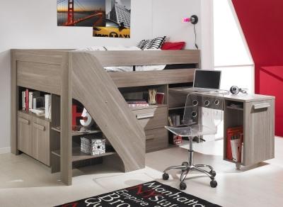 Gami Hangun Charcoal Oak Compact High Sleeper Bed