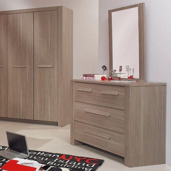Gami Hangun Charcoal Oak 3 Drawer Chest with Mirror