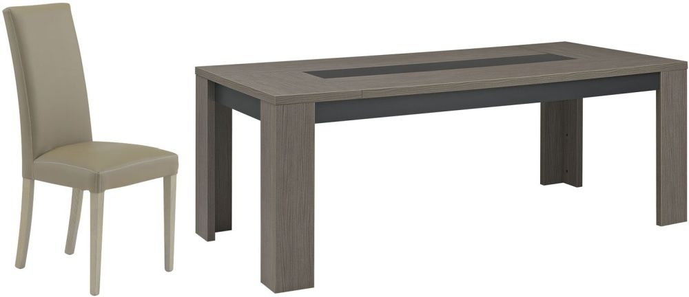 Gami Hanna Ceruse Oak Dining Set - Rectangular Extending with Ava Taupe Chairs
