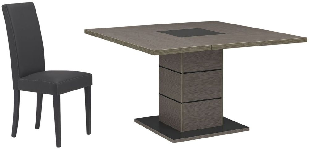 Cheap gami hanna ceruse oak dining set square with ava for Salle a manger hanna