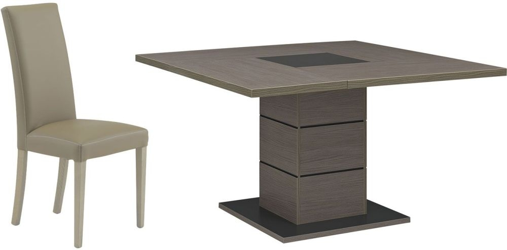 Gami Hanna Ceruse Oak Dining Set - Square with 4 Ava Taupe Chairs