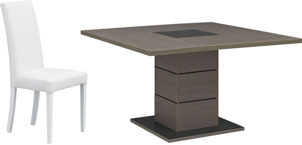 Gami Hanna Ceruse Oak Dining Set - Square with 4 Ava White Chairs