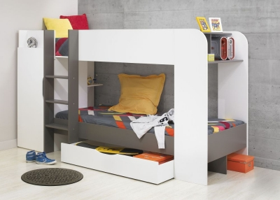 Gami Jeko White and Grey Bunk Bed