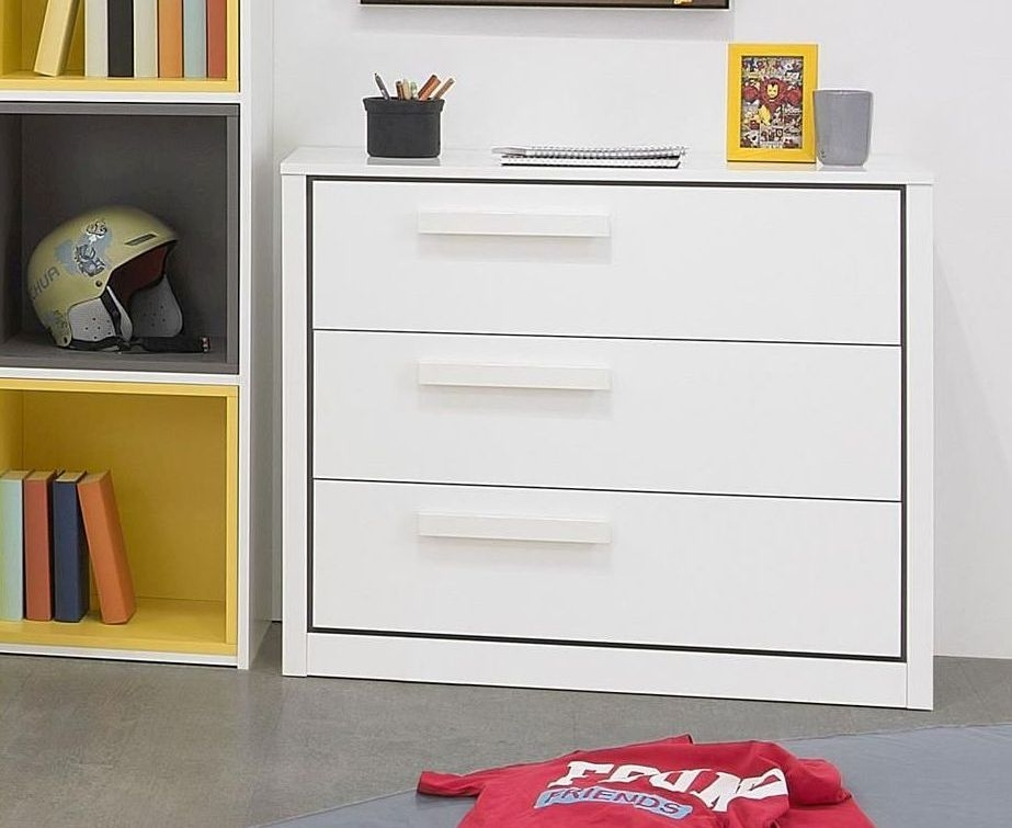 Gami Jeko White Chest of Drawer - 3 Drawer
