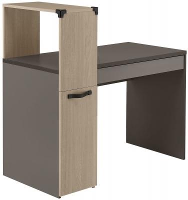 Gami Jimi Oak and Grey Desk - 1 Door 1 Drawer