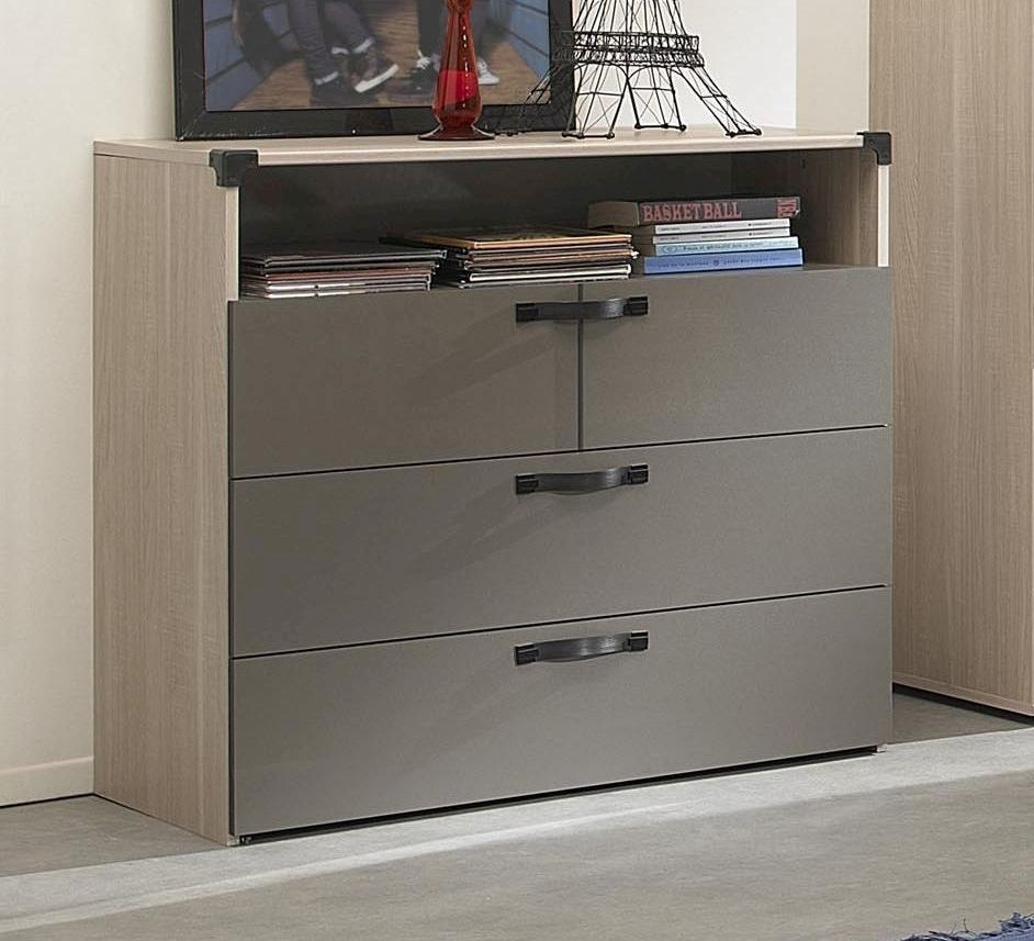 Gami Jimi Oak and Grey Chest of Drawer - 3 Drawer