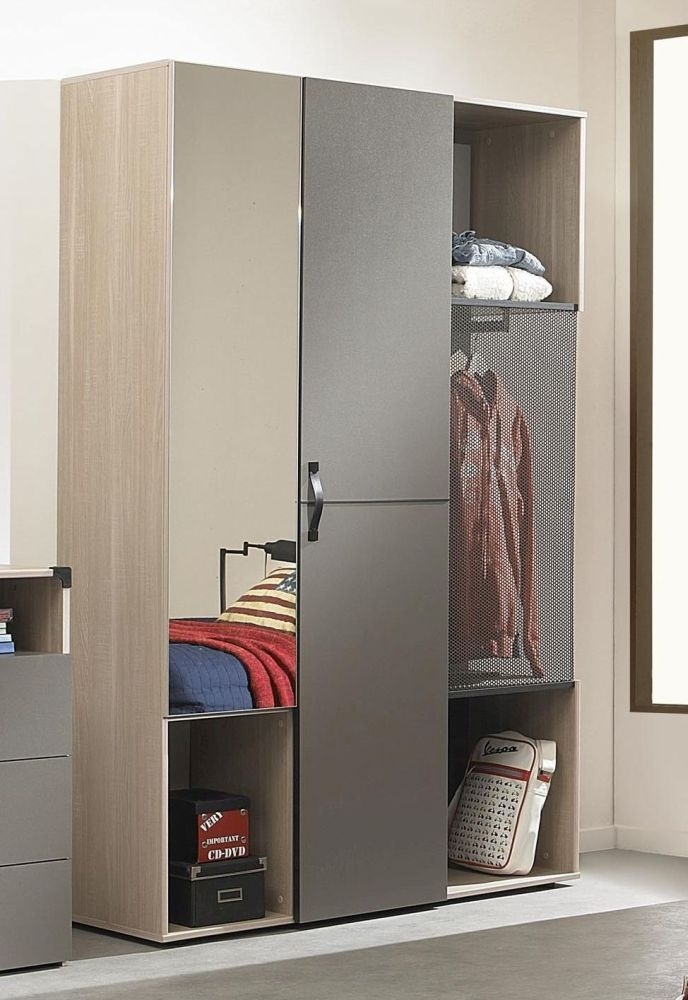 Gami Jimi Oak and Grey Wardrobe - 2 Door