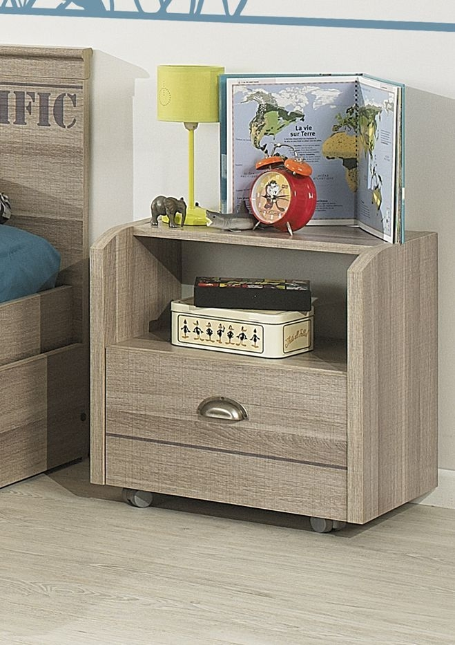 Gami Largo Grey Oak Bedside Cabinet - 1 Drawer