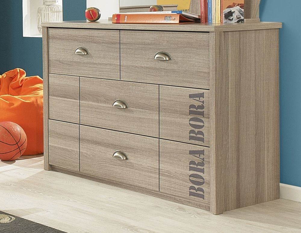 Gami Largo Grey Oak Chest of Drawer - 3 Drawer