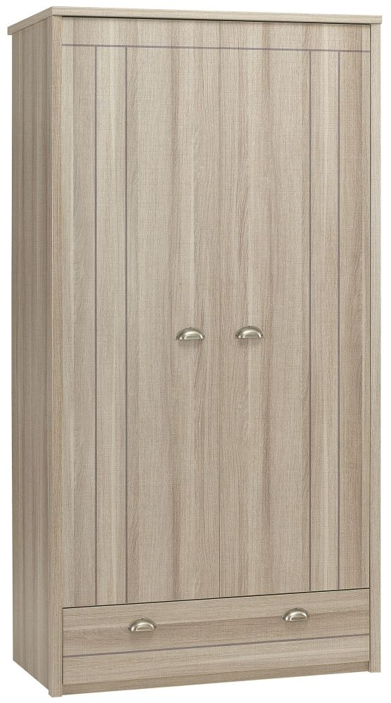 Gami Largo Grey Oak Wardrobe - 2 Door 1 Drawer