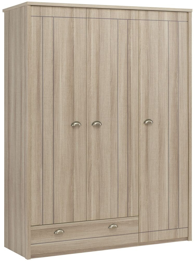 Gami Largo Grey Oak Wardrobe - 3 Door 1 Drawer
