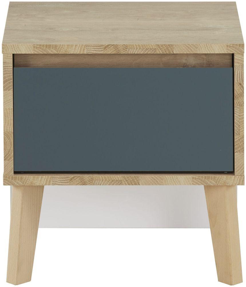 Gami Larvik Blond Oak Blue Bedside Cabinet