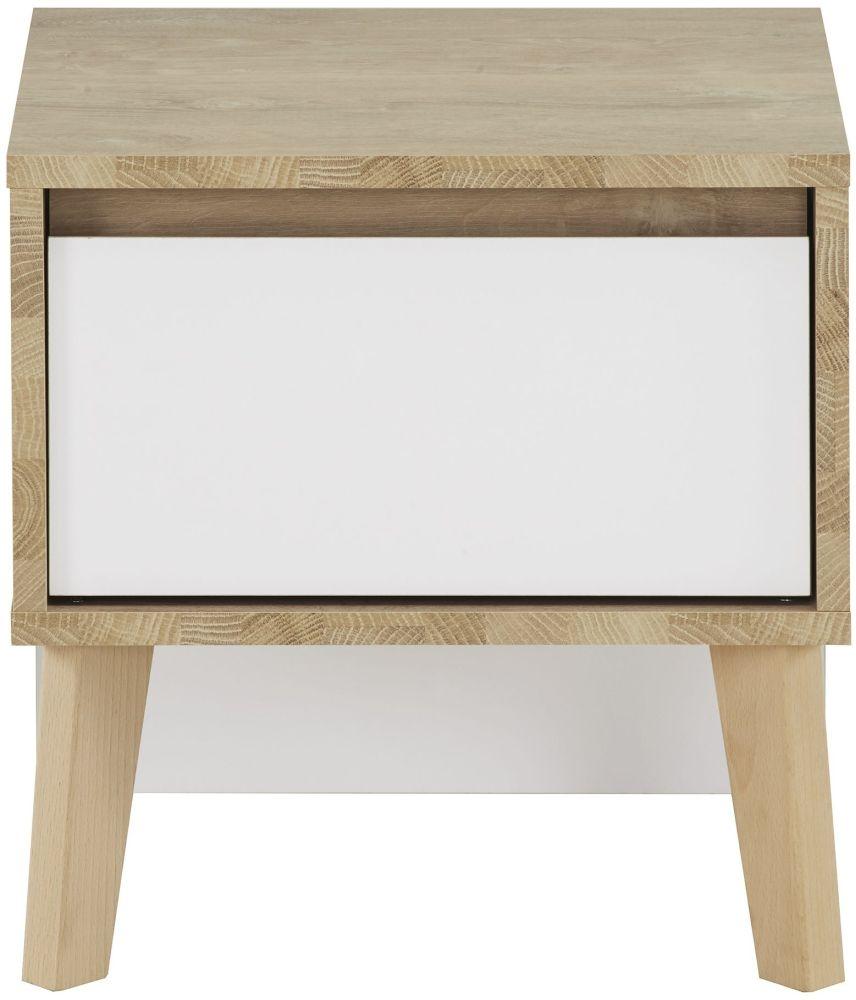 Gami Larvik Blond Oak White Bedside Cabinet