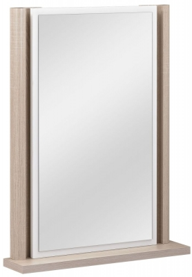 Gami Messina White and Clear Oak Mirror - Wall Mounted