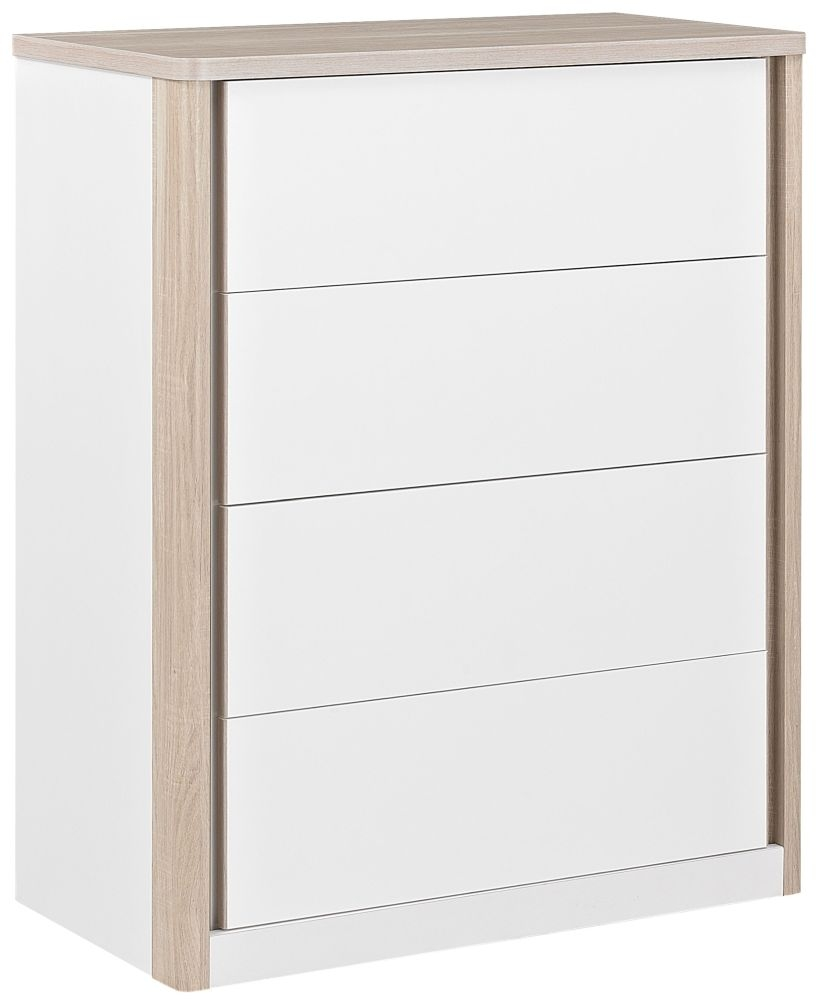 Gami Messina White and Clear Oak Chest of Drawer - 4 Drawer