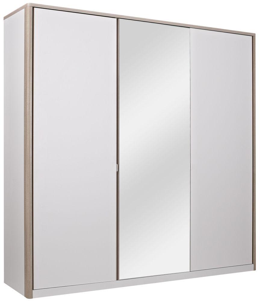 Gami Messina White and Clear Oak Wardrobe - 3 Door