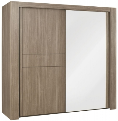 Gami Moka Charcoal Oak Sliding Wardrobe - 2 Door