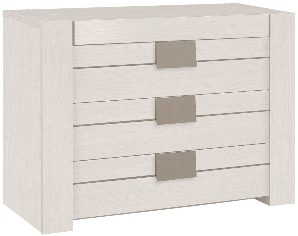 Gami Moka Whitewashed Ash Chest of Drawer - 3 Drawer
