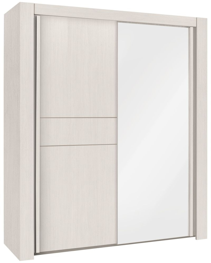 Gami Moka Whitewashed Ash Sliding Wardrobe - 2 Door