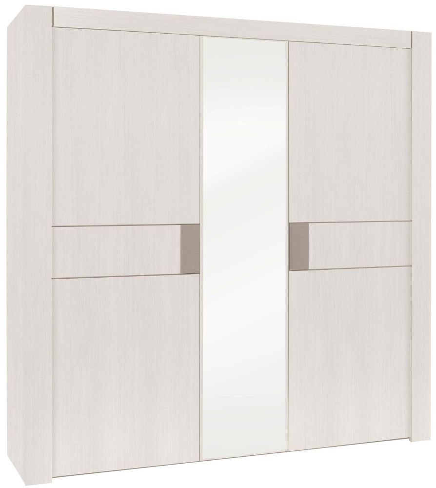 Gami Moka Whitewashed Ash Wardrobe - 3 Door