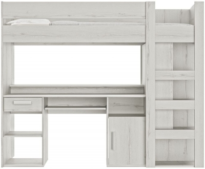 Gami Montana Whitewashed Oak High Bed