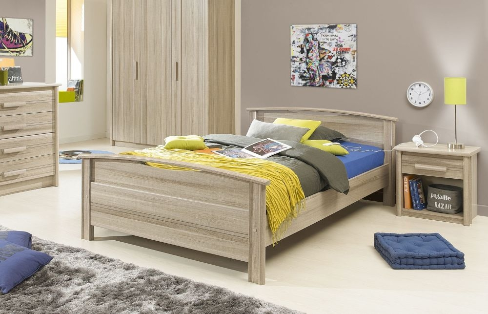 Gami Montana Grey Oak Bed
