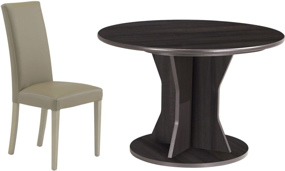 Gami Palace Plum Dining Set - Round Extending with Ava Taupe Chairs