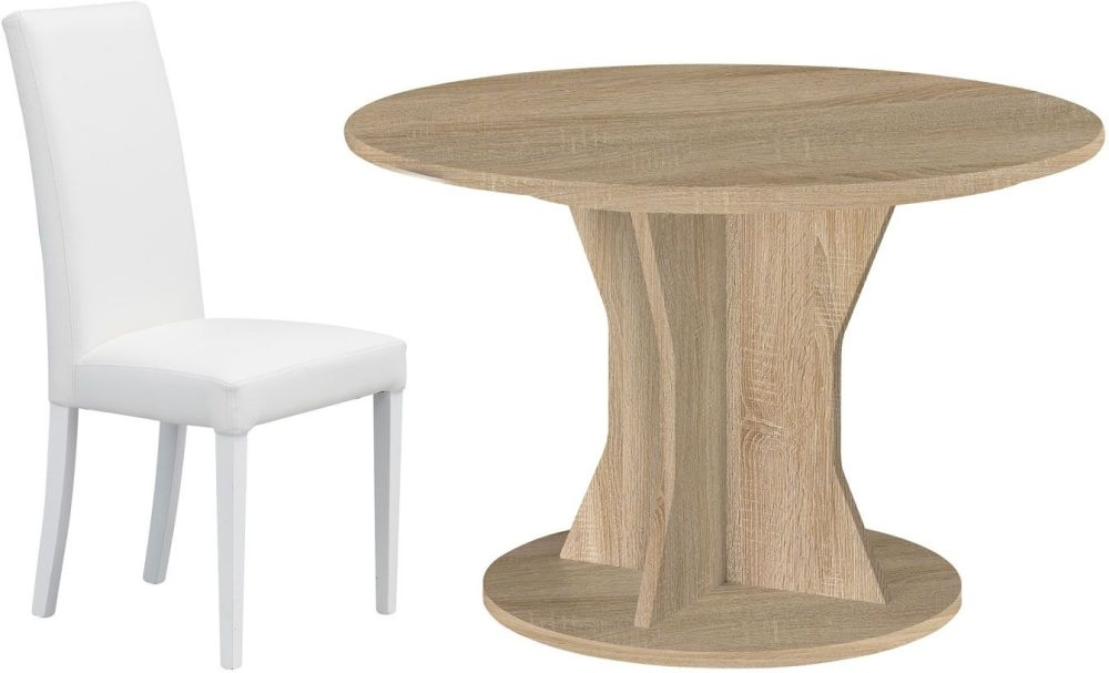 Gami Palace Sonoma Oak Dining Set - Round Extending with Ava White Chairs