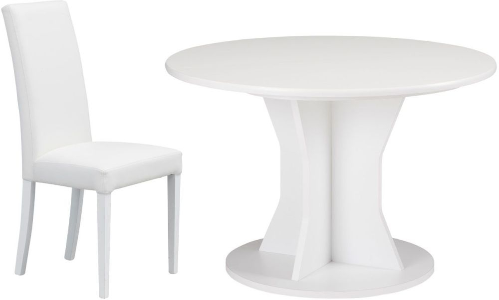 Gami Palace White Dining Set - Round Extending with Ava White Chairs